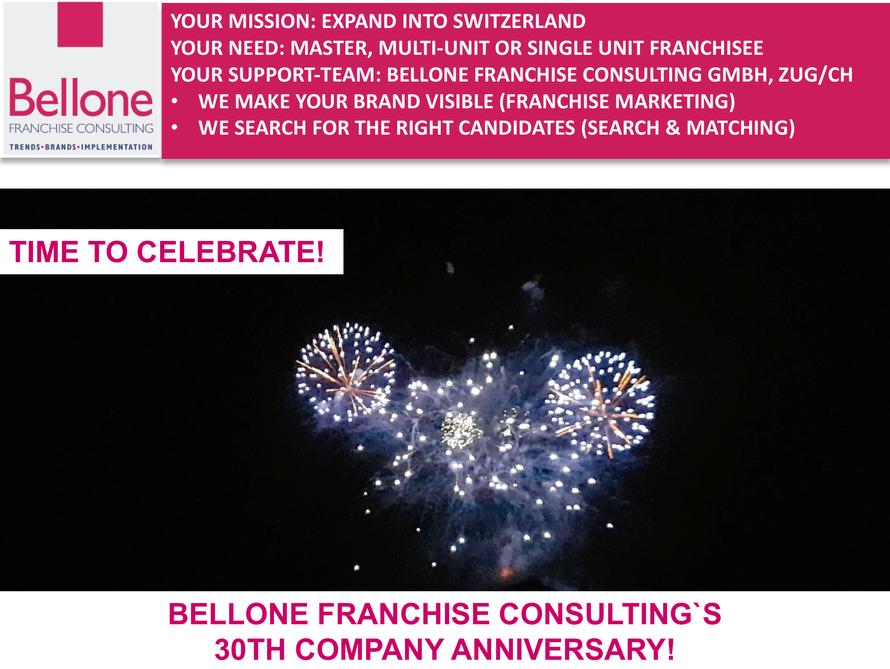 30-jähriges Firmenjubiläum von Bellone Franchise Consulting © Bellone Franchise Consulting GmbH