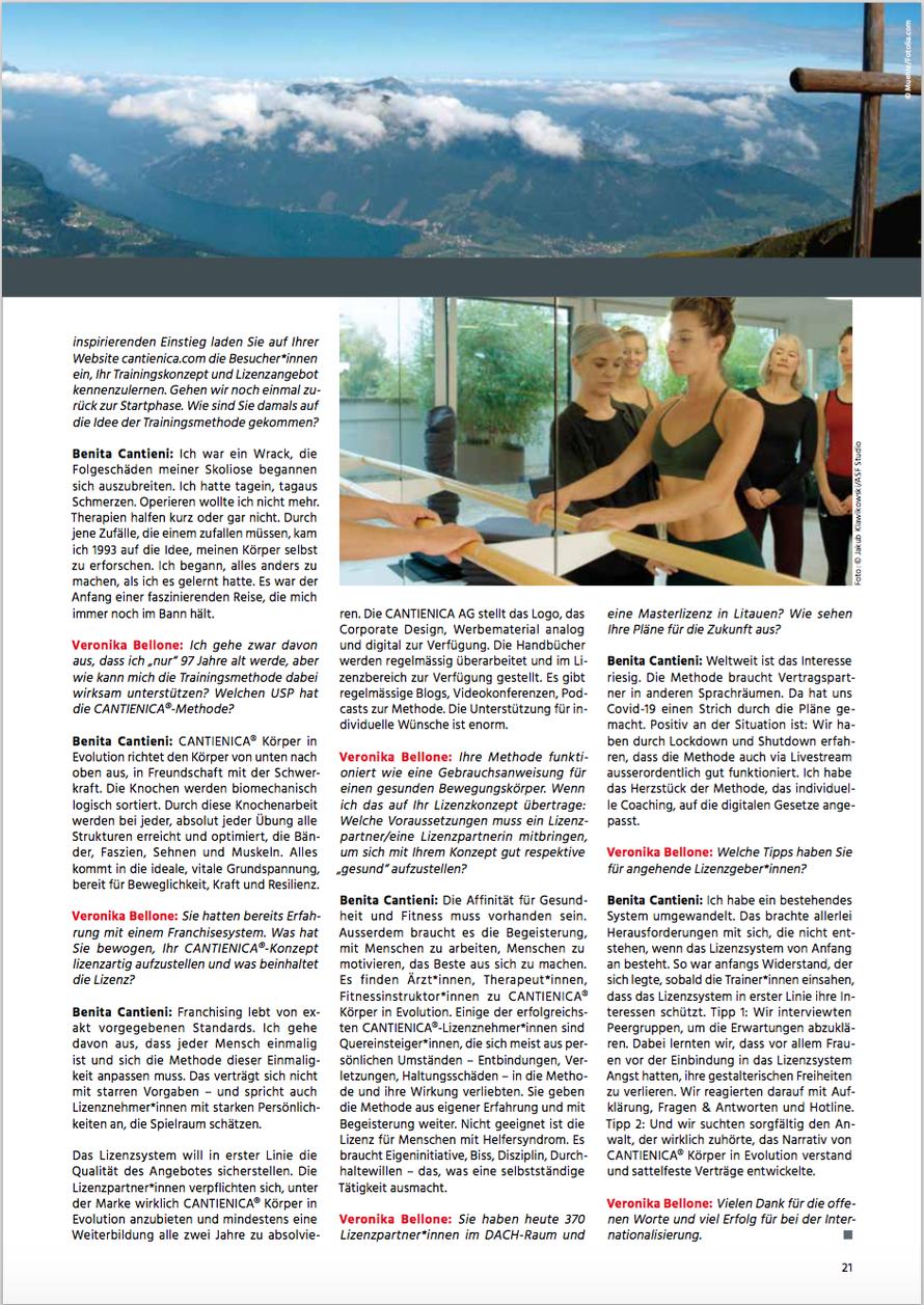 Prof. Veronika Bellone im Gespräch mit Benita Cantieni, franchiseERFOLGE No 100, 19. Jahrgang, Sept.-Nov. 2021, Seite 21