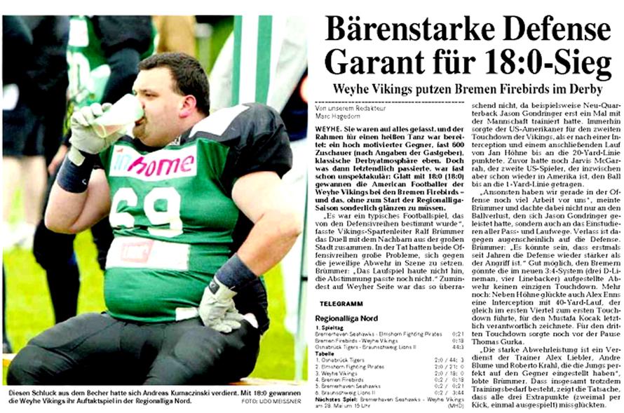 Weser-Kurier 10. Mai 2006