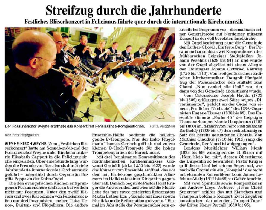 Weser-Kurier vom 03. 11. 2008