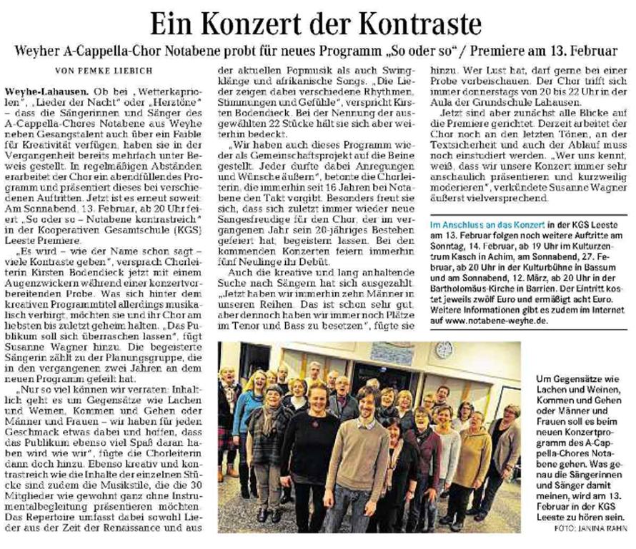 Weser-Kurier vom 23. 01. 2016