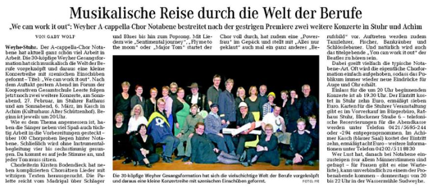 Weser-Kurier vom 21. 02. 2010