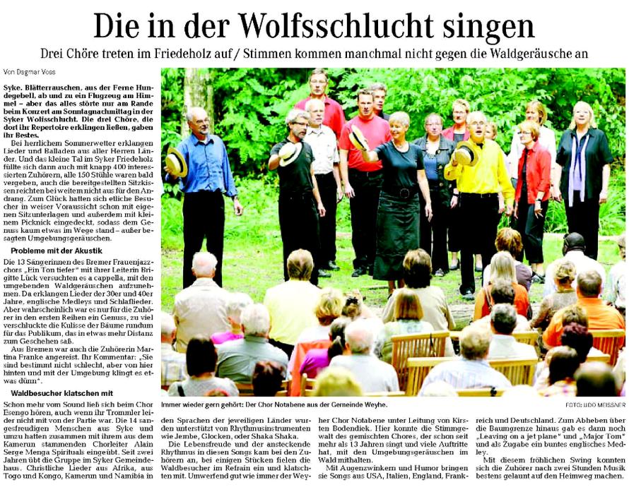Weser-Kurier vom 18. 08. 2009