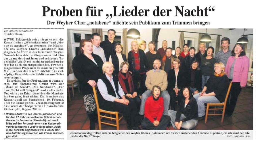 Weser-Kurier vom 13. 01. 2007