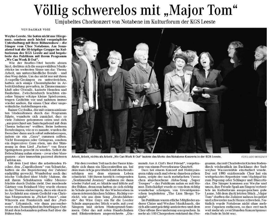 Weser-Kurier vom 22. 02. 2010