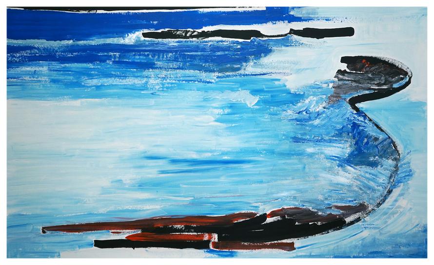 Die Brandung, 100 x 160 cm, Dezember in Saint Clair 2014, Copyright by Martin Uebele