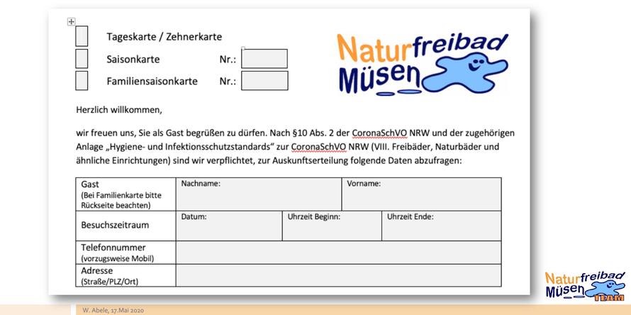 Ein Formular zur Gästeregistrierung ist Teil der Mitwirkungspflicht unserer Gäste.