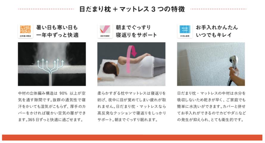 日だまり枕とマットレスの特徴。1、一年中ずっと快適。2、寝返りをサポート。3、お手入れ簡単。