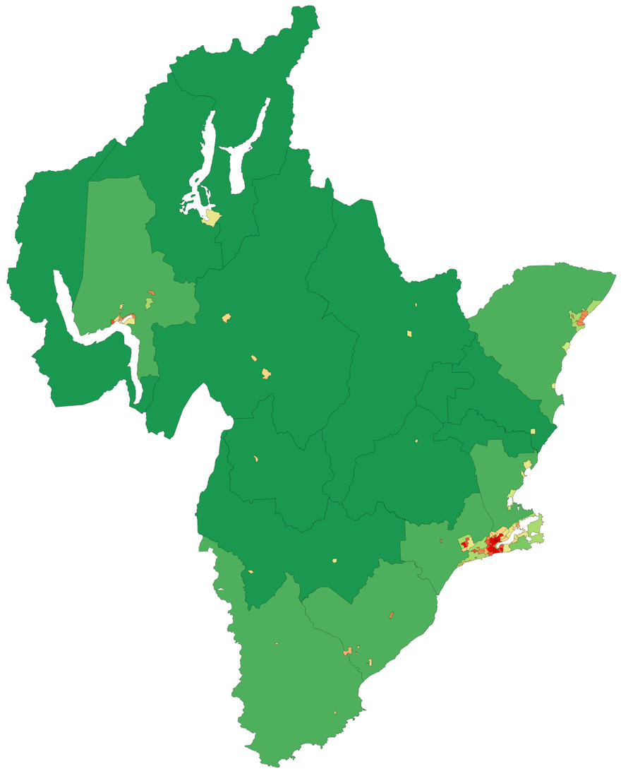 Population densities in the Otago Region with Dunedin (mid-right) and Queenstown (top-left) in bright red. The dark green is less than 1 person per square km and lighter green is 1-5 people per square