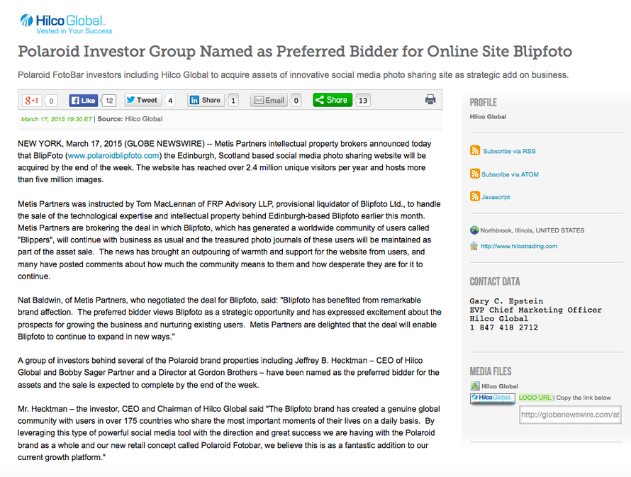 Beginning of the Hilco Global press release announcing its plan to acquire Blipfoto. Click for link.