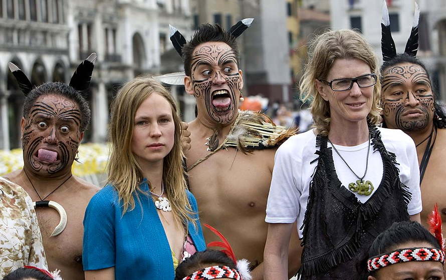 "NZ artists Francis Upritchard and Judy Millar with the Maori group ""Waka Huia"" for the opening of the New Zealand Pavilion at the 2009 Venice Biennale (Tony Gentile/Reuters) (Upritchard VB 2009 video"