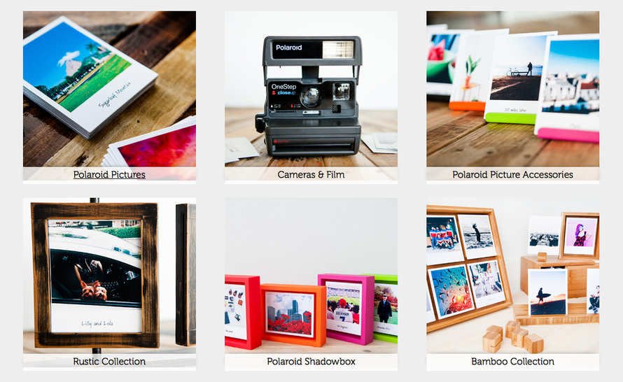 Screen shot of part of the home page of Polaroid Fotobar (click pic to go there).