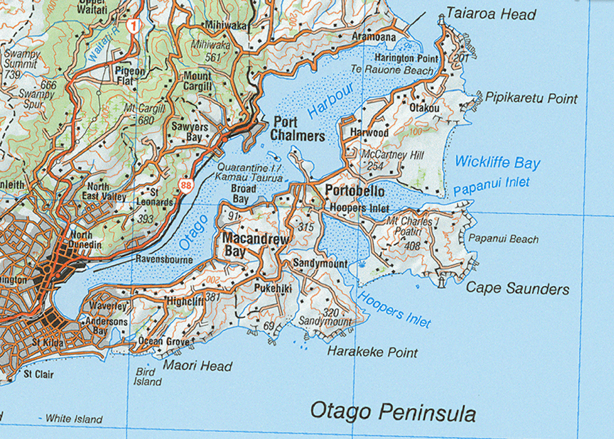 Map of the peninsula - we stayed on the south side of Papanui Inlet under Mt Charles (http://www.topomap.co.nz/)