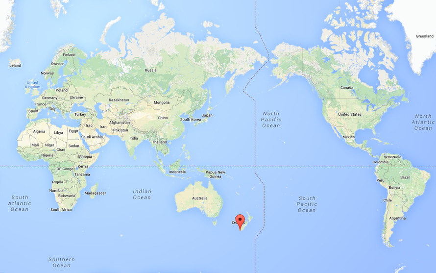 There is an awful lot of sea around Stewart Island, New Zealand (see marker) (Google Maps).