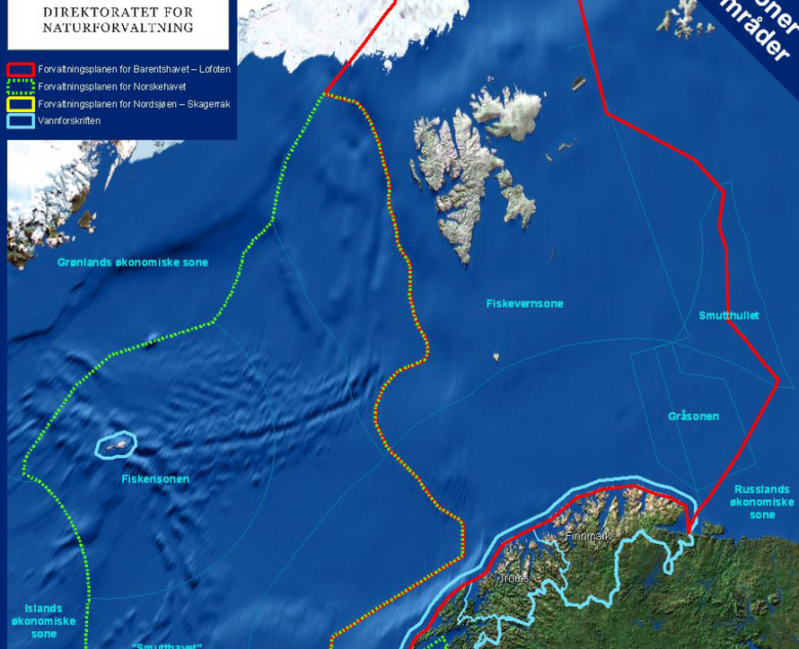 The Barents Sea - Lofoten fishing zone (showing area in red/red-yellow inlcuding Svalbard and the Greenland coast) in the Norwegian Economic Exclusivity Zone (from Integrated Management Plan of the Barents Sea-Lofoten area White Paper 2006).