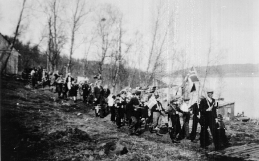 National Day celebration in 1945 at Jøvik on the Kjosen Inlet of the Sørfjorden in Troms, Northern Norway (Nord Troms Museum).