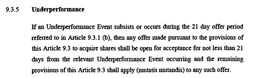 Point 9.3.5. in the Blipfoto Ltd adopted Articles of Association of 12.12.2014. A clause which seems to allow a 21 day grace period for those acquiring shares if an Underpeformace Event 'subsists or occurs during the 21 day share offer period'.