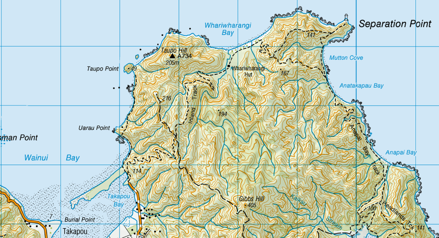 Map showing Taupo Point and the path from Takaou Bay in the Abel Tasman National Park (NZ Topo Map