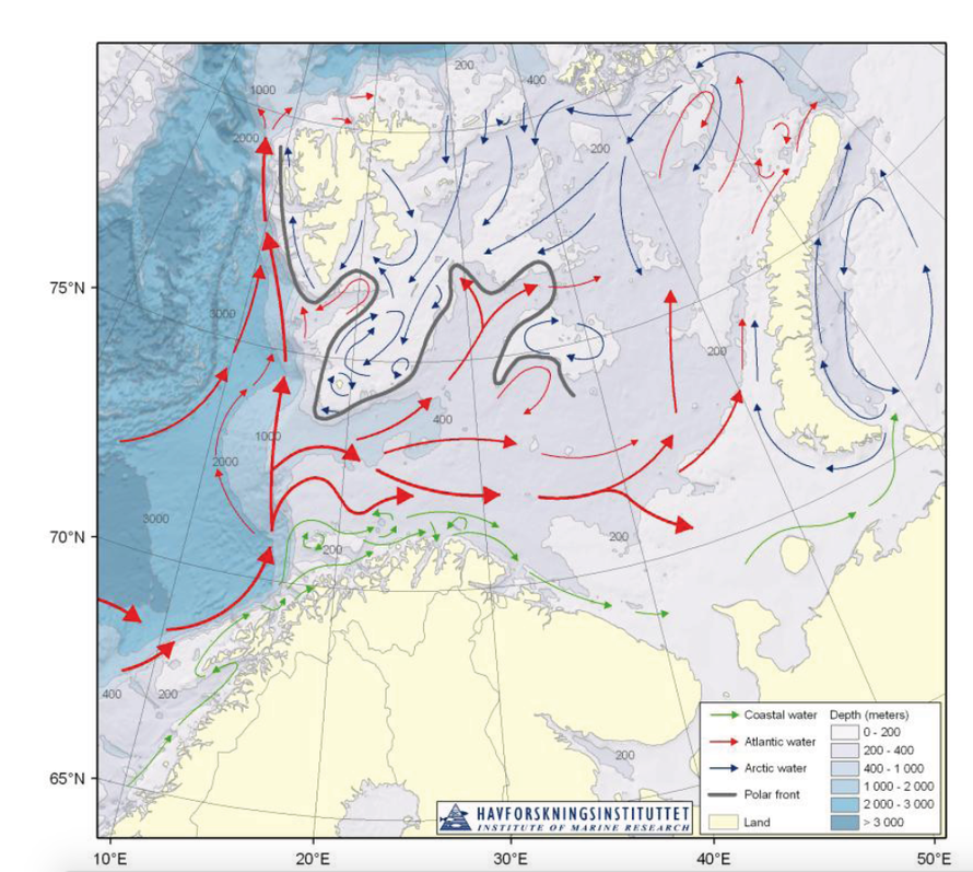Main features of circulation and bathymetry in the Barents Sea (from Joint Norwegian-Russian environmental status 2008 Report on the Barents Sea Ecosystem).
