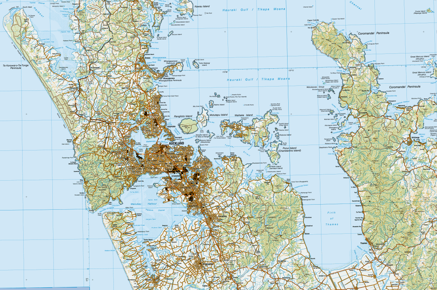 The geographical location of Auckland on New Zealand's North Isaland (NZ Topo map).