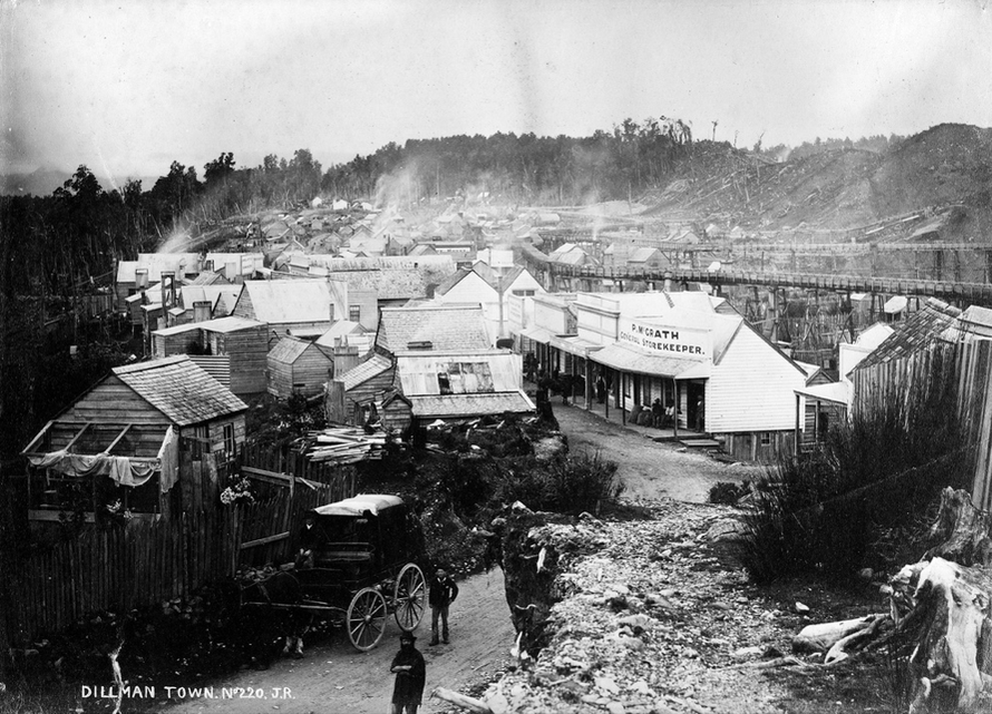 Dillmanstown near Hokitika. James Ring (Alexander Turnbull Library, National Library of New Zealand)