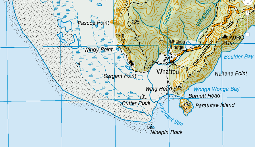 Whatipu on the north side of the Manukau Entrance with its rocks, beaches, marshes, lagoons and the Watakere Ranges (NZ Topomap).