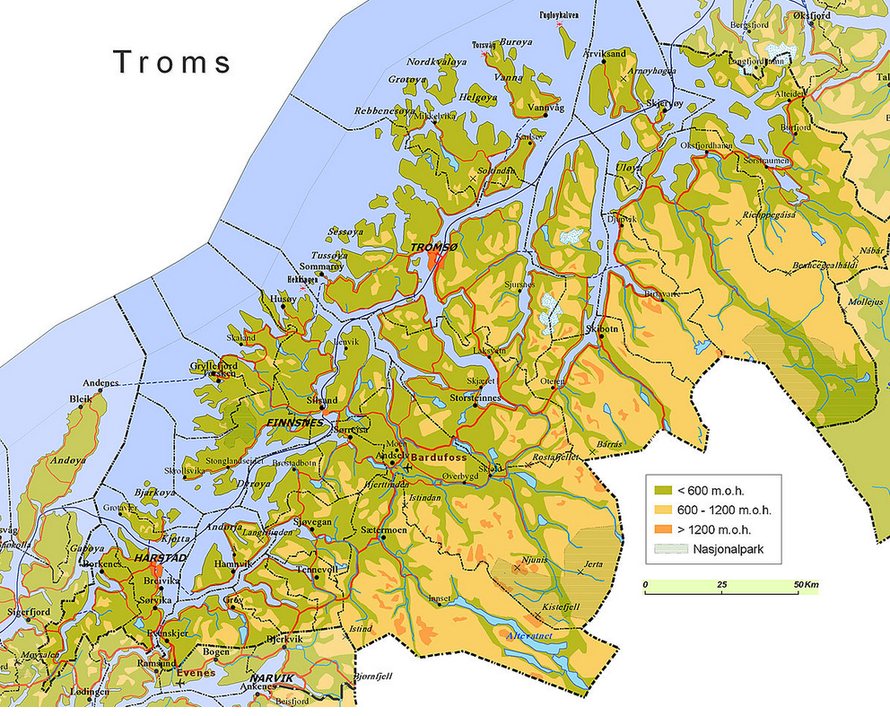 The county of Troms in Arctic Norway (Wikimedia Commons). Troms has a population of about 157,000.