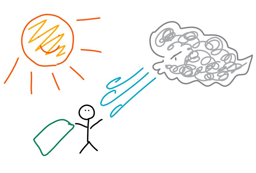 ありがちな「北風と太陽」の図