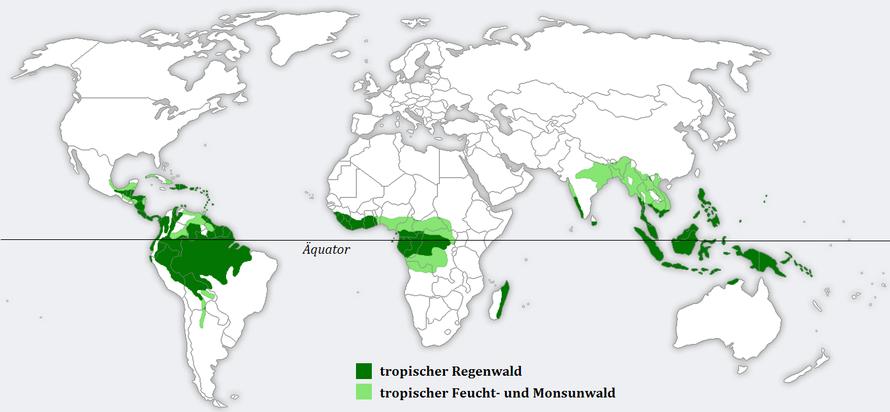 Verbreitung der Tropen, dargestellt auf einer Weltkarte | Quelle: Vorlage für Weltkarte: http://en.wikipedia.org/wiki/Image:BlankMap-World.png; die Verbreitung wurde dem Diercke Weltatlas 1992 entnommen und abgemalt von Nutzer c.lingg.