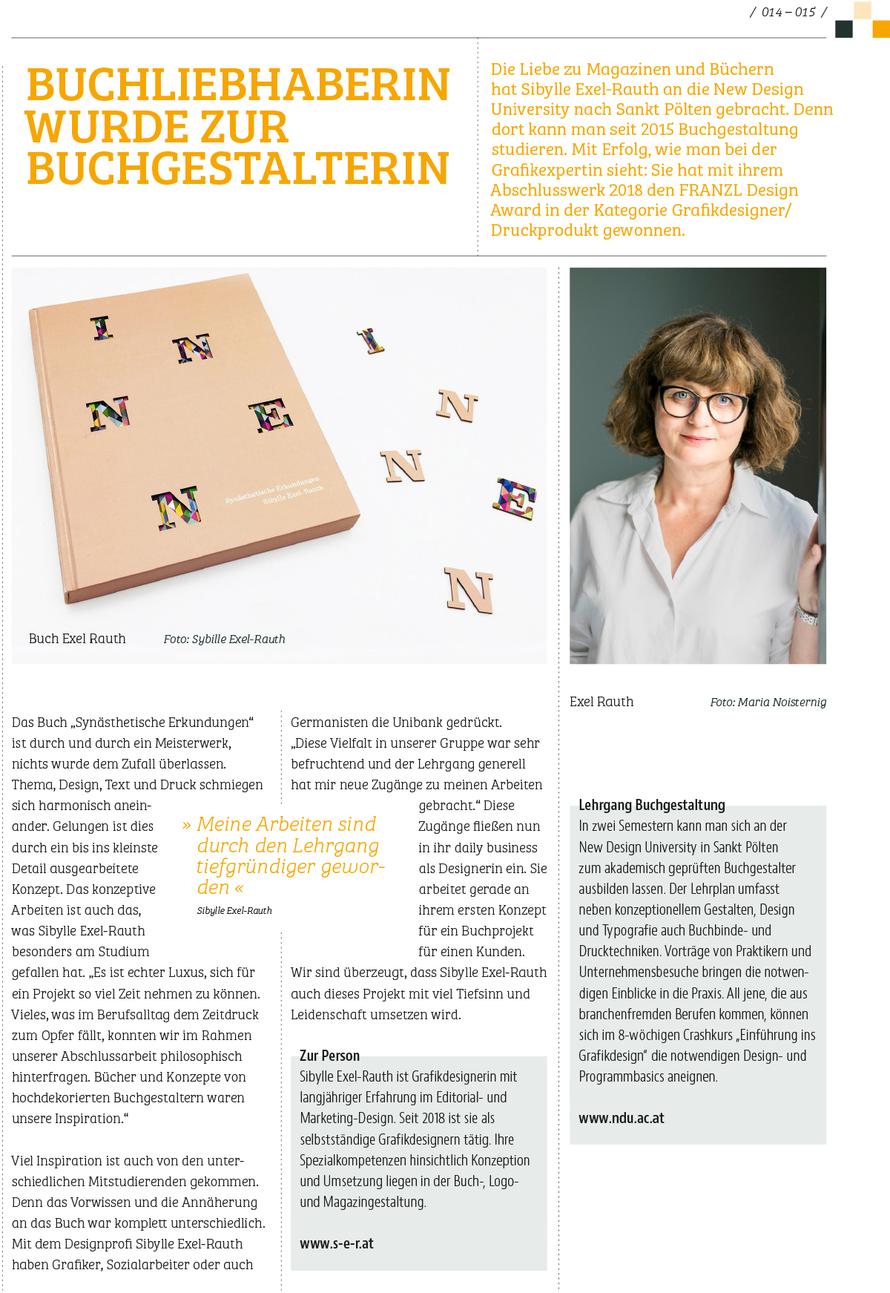 Artikel über Sibylle Exel-Rauth im druck & medien Magazin April 2019