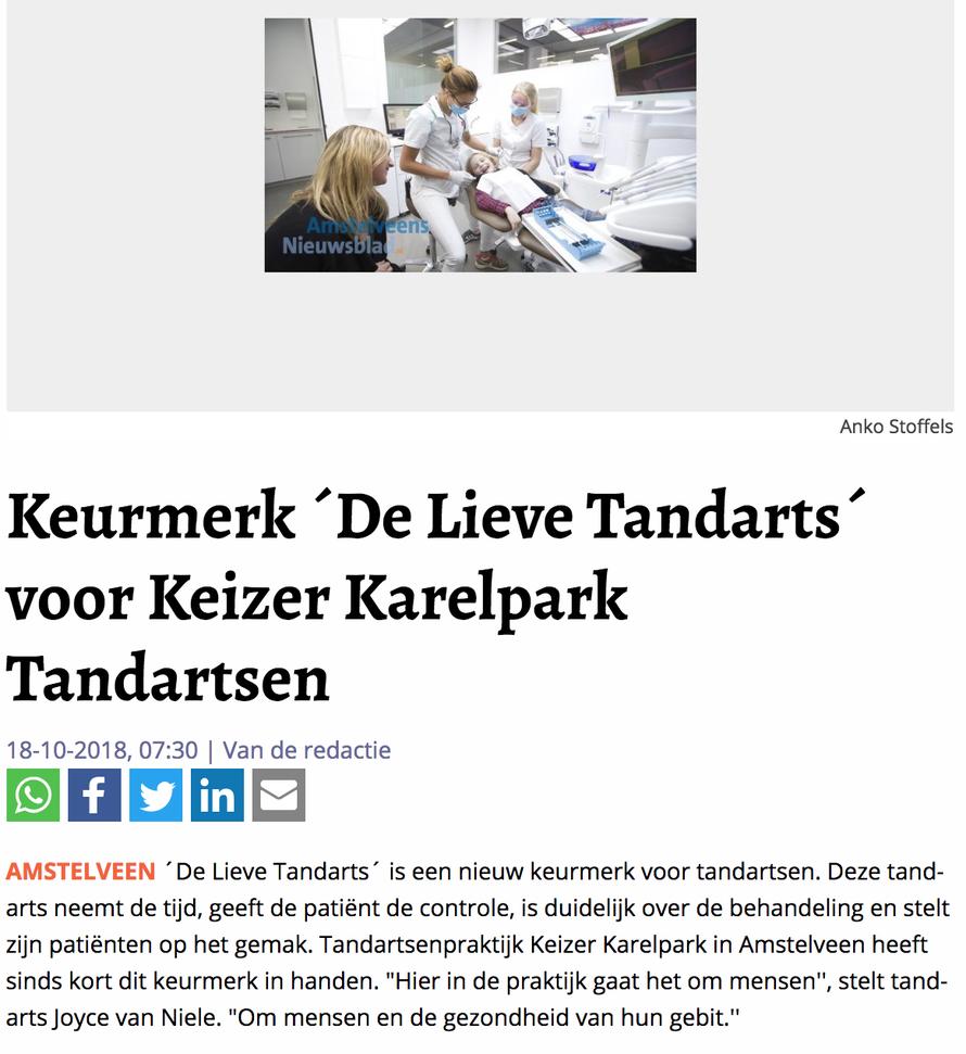 df4c7e6aa9e4b4 Artikel De Lieve Tandarts Noordhollands Dagblad 10-10-18