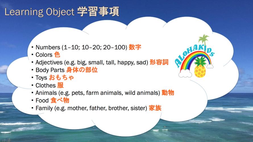 1歳~2歳学習内容/大阪の幼児子供英会話ALOHAKIDSアロハキッズ、緑の人工芝で楽しく子供フィットネス、バイリンガルトレーナーで自然に英語が身につくキッズ英会話体操教室