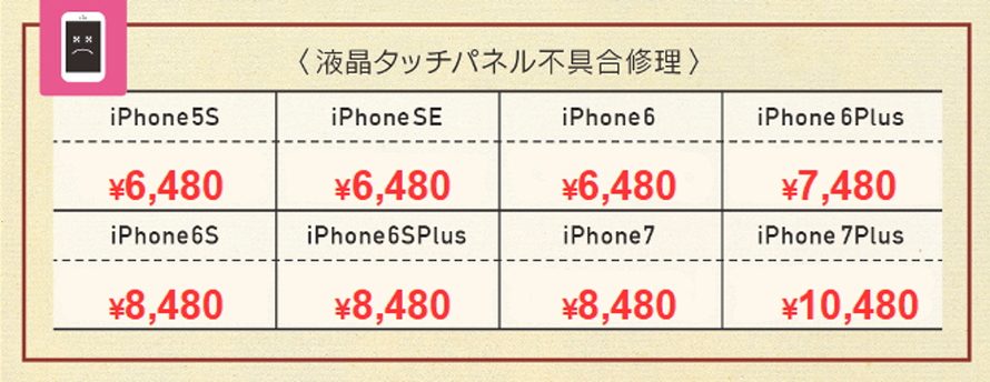 iPhone7Plus 10480円、iPhone7 8480円、iPhone6sPlus 8480円、iPhone6s 8480円、iPhone6Plus 7480円、iPhone6 6480円