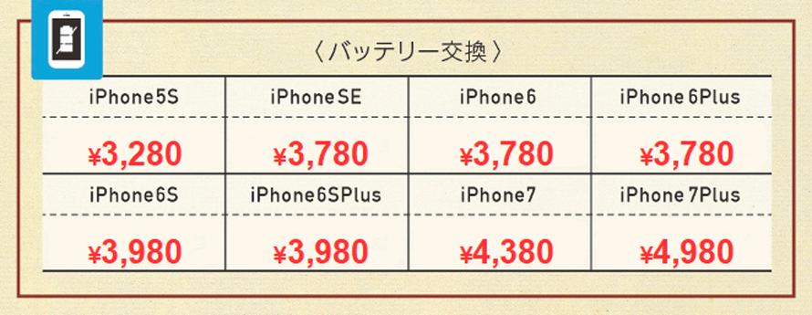 iPhone7Plus 4980円、iPhone7 4380円、iPhone6sPlus 3980円、iPhone6s 3980円、iPhone6Plus 3780円、iPhone6 3780円