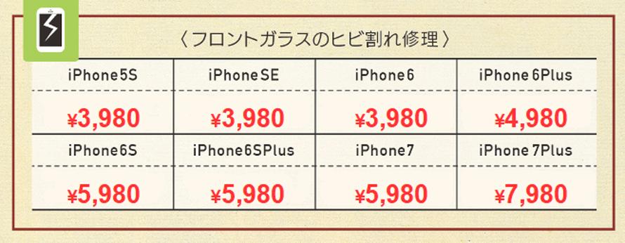 iPhone7Plus 7890円、iPhone7 5980円、iPhone6sPlus 5980円、iPhone6s 5980円、iPhone6Plus 4980円、iPhone6 3980円