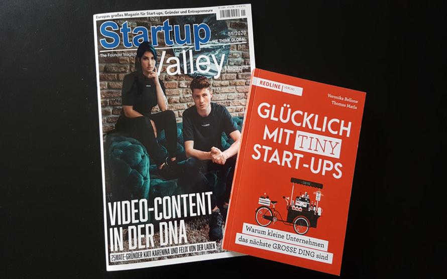 «Startup Valley» 01/2020 mit Bericht über das Buch «Glücklich mit Tiny Start-ups» © Foto Bellone Franchise Consulting GmbH