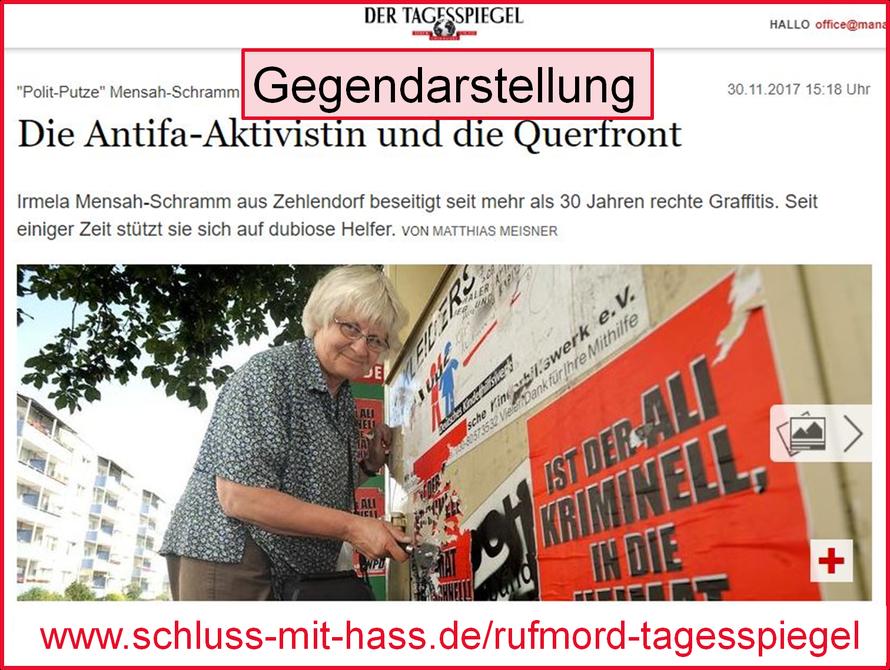 """Tagesspiegel """"Polit-Putze"""" Mensah-Schramm Die Antifa-Aktivistin und die Querfront  Irmela Mensah-Schramm aus Zehlendorf beseitigt seit mehr als 30 Jahren rechte Graffitis. Seit einiger Zeit stützt sie sich auf dubiose Helfer. VON MATTHIAS MEISNER"""