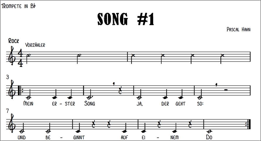 Noten & Text zu unserem ersten Song