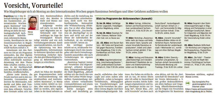 Volksstimme Magdeburg 13.03.2021