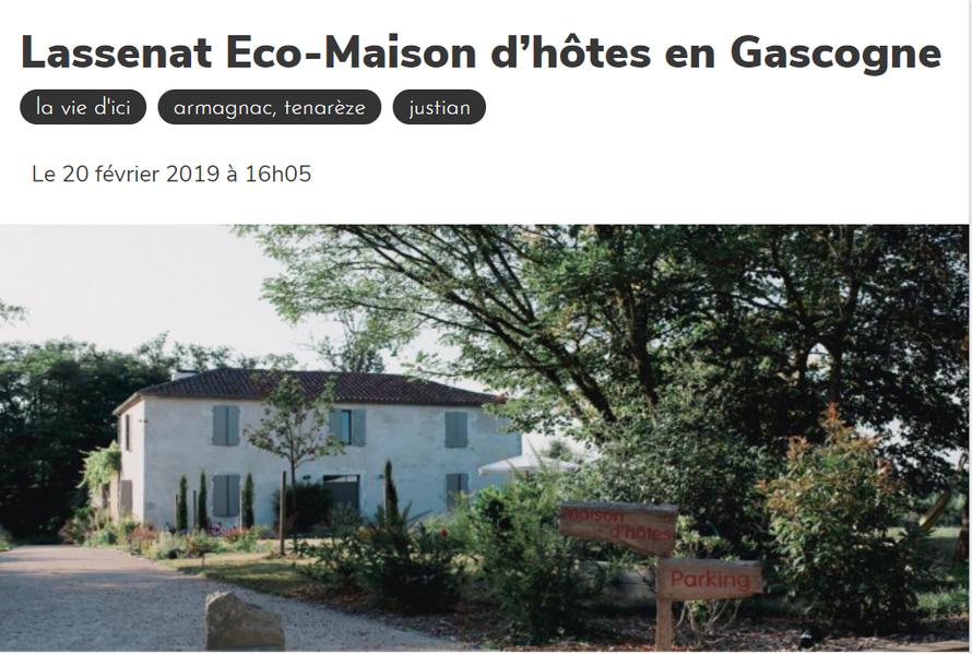 Lassenat Eco-Maison d'hôtes en Gascogne, Nouvel hébergement labellisé ... Hébergers