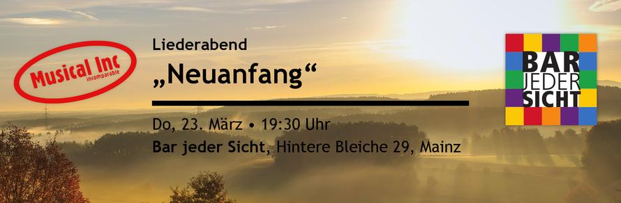 """Liederabend """"Neuanfang"""" - Do, 23. März, 19:30 Uhr - Bar jeder Sicht, Hintere Bleiche 29, Mainz"""