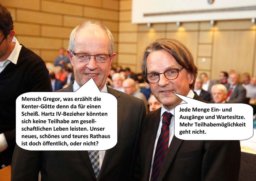 Veranstaltung Heart's IV - Hartz IV, Bettina Kenter Götte; OB Wilhelm Reiners, Gregor Bonin, Mönchengladbach