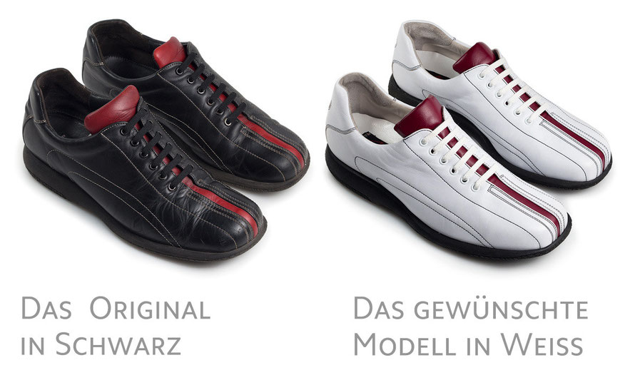 schwarzes und weißes Modell aus der Michael Schumacher Kollektion von LLOYD im Vergleich