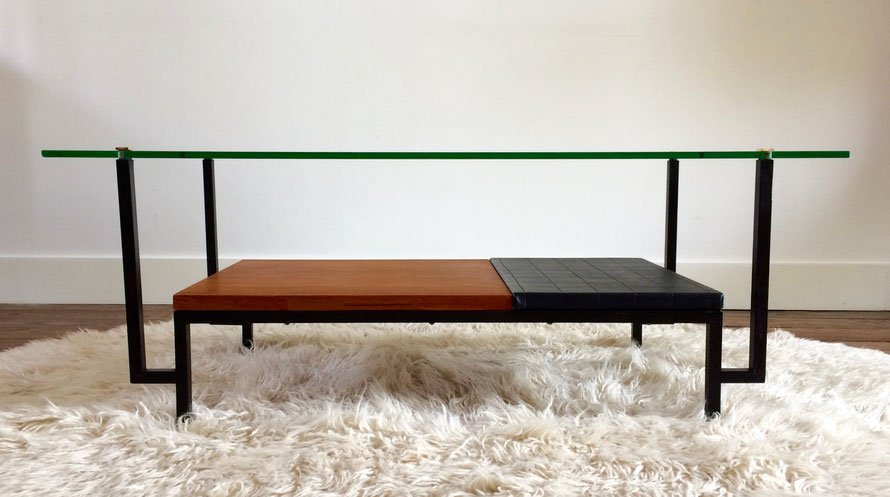table basse vintage, Georges Frydman, table basse teck, table moderniste, années 50, meubles EFA, Alain Richard