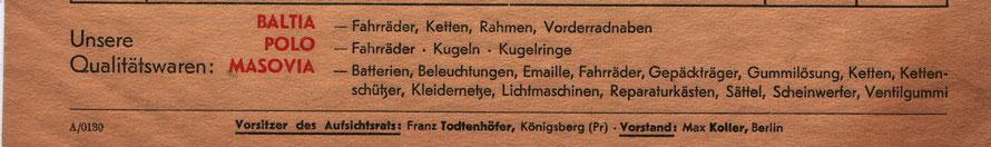 Alle Marken der Todtenhöfer AG auf einer Rechnung von 1941