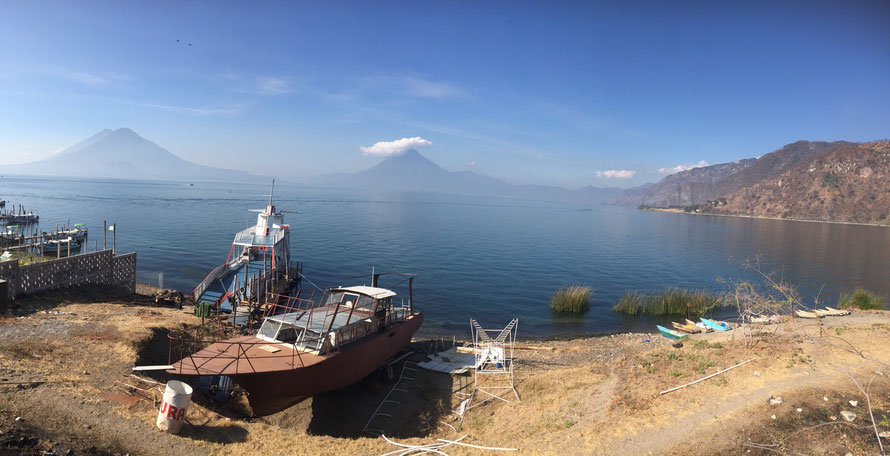 Looking over Lake Atitlan from Panajachel to the Volcanoes on the other side