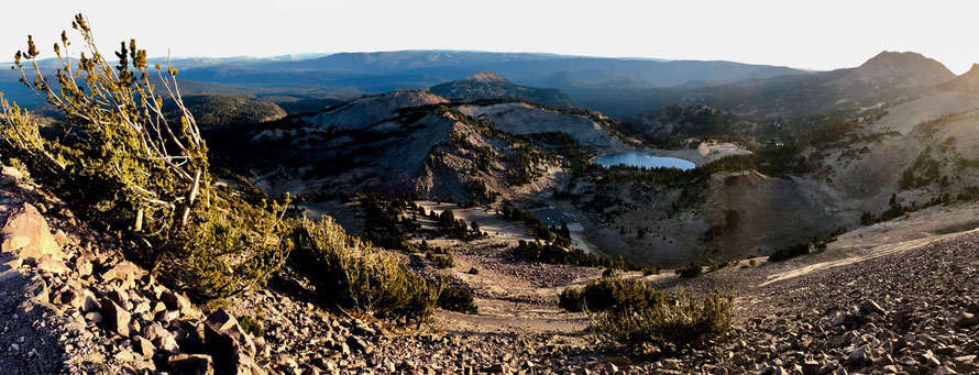 View down from the trial to Lassen Peak