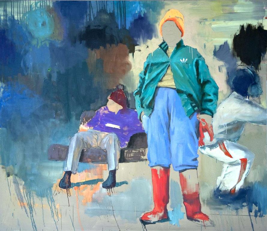 o.T. (Adidas), Öl auf Leinwand, 180x155cm, 2008