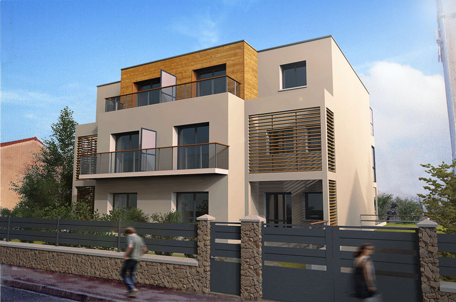 architecture contemporaine à saint-maur, val de marne, rendu 3D