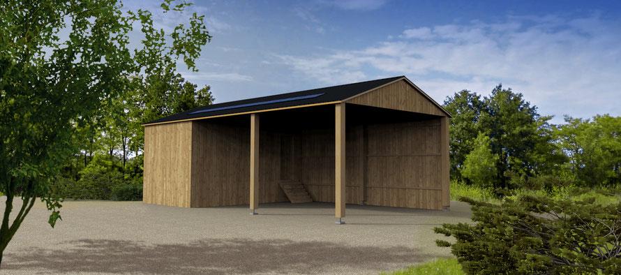 hangar agricole avec panneaux photovolataiques en 3D, pcmi 6, permis de construire